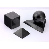Shungite Set Cube, Pyramid and Sphere on stand  100 mm